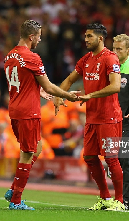 Liverpool captain Jordan Henderson being replaced by Emre Can