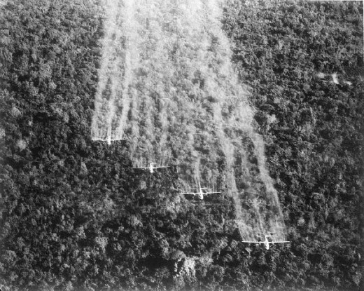 US planes spraying Agent Orange over Vietnam. The public was assured that it only was to destroy the foliage. But the Vietnamese population became ill in large numbers.