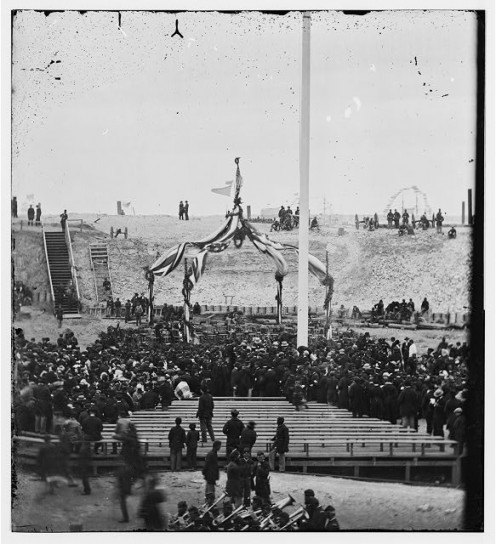 Flag At Fort Sumter Being Raised By Union Troops