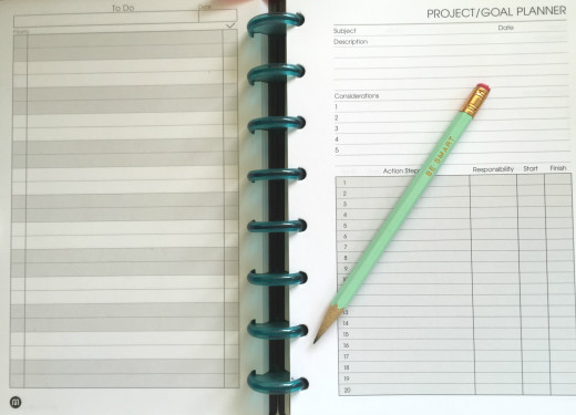 Levenger Notebook with To-Do & Project Planner insertable paper.