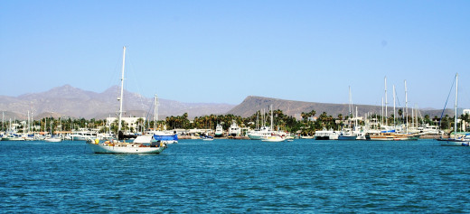 The Bahia de La Paz anchorage and city waterfront