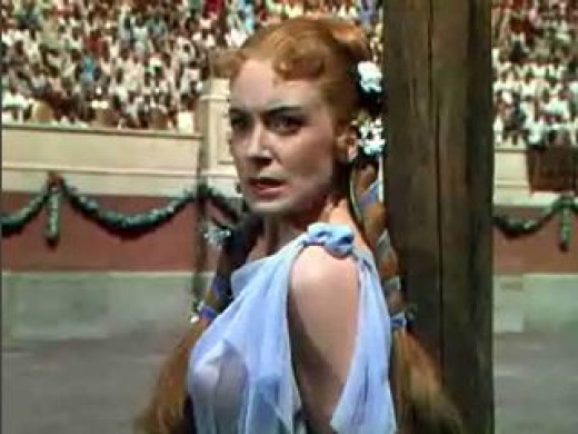 The late Deborah Kerr as the Christian Lygia sentenced  to die at the arena