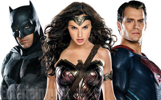Ben Affleck as Batman, Gal Gadot as Wonder Woman, and Henry Cavil as Superman in DC's Cinematic Universe
