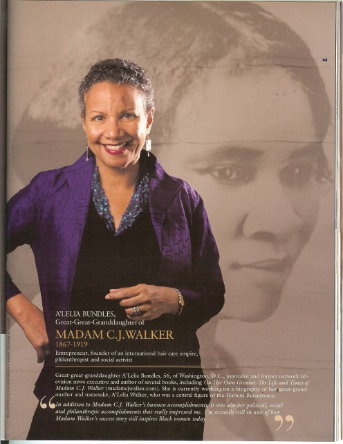 Freda's interview with Madam C.J. Walker's great-great granddaughter, A'Lelia Bundles was a real honor.