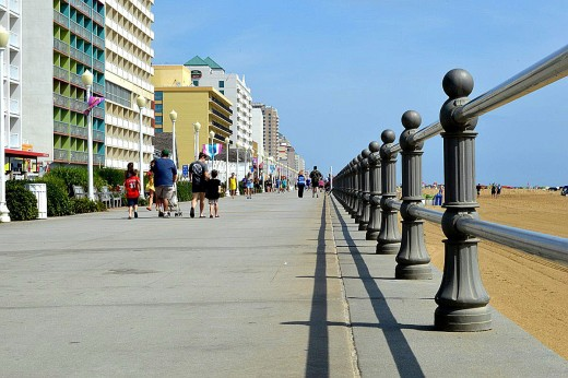The Virginia Beach Boardwalk stretches three miles. Walkers, joggers and others fill it with activity during the summer.