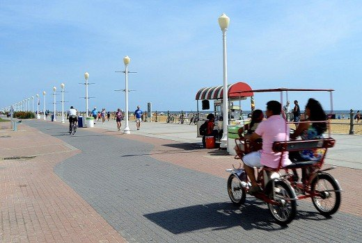 Bikes, rollerbladers and even surreys use the path that runs parallel to the Virginia Beach boardwalk.