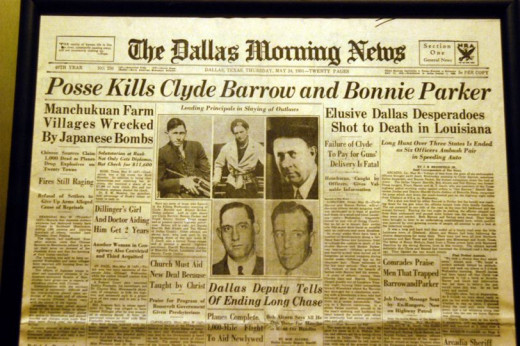 The Dallas Morning News cover on Bonnie and Clyde death