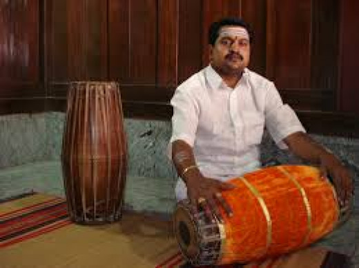 Indian Musical Instrument 'Mridangam' : Artist K.P.Parameswaran