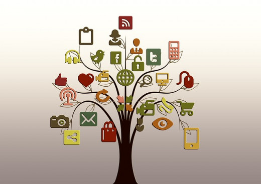 various social media services shown on a diagram of a tree
