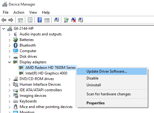 "Keep your graphics card up-to-date using ""Update Driver Software"""