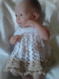 Free Doll Crochet Thread Dress Gown Pattern for Berenguer La NewBorn 14 inch Micro Preemie Baby OOAK Reborn Doll