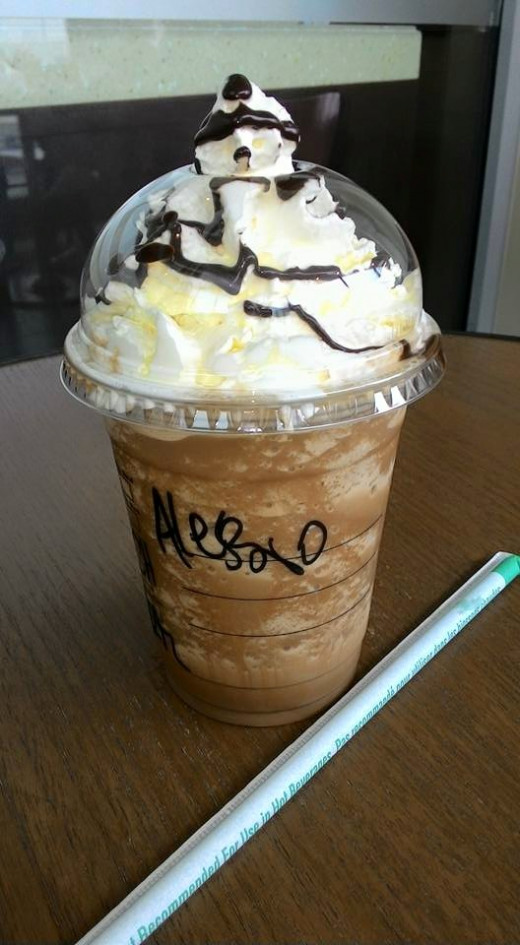 A Starbucks iced Frappuccino with chocolate.