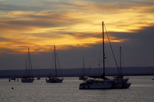 Sunset over the Mogote anchorage, La Paz, Mexico