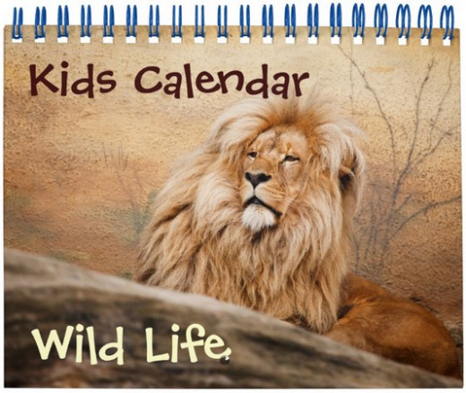 Kids calendar with wild life photos
