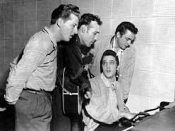 Lewis (left) with Carl Perkins, Elvis Presley and Johnny Cash