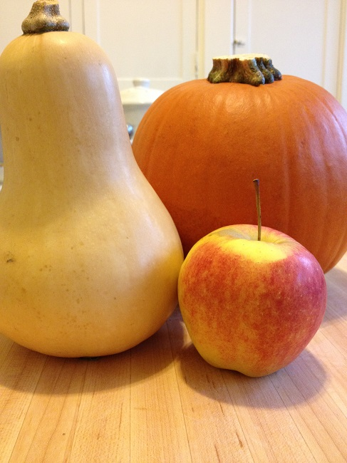 Butternut squash and sugar pie pumpkin to roast and an apple to munch