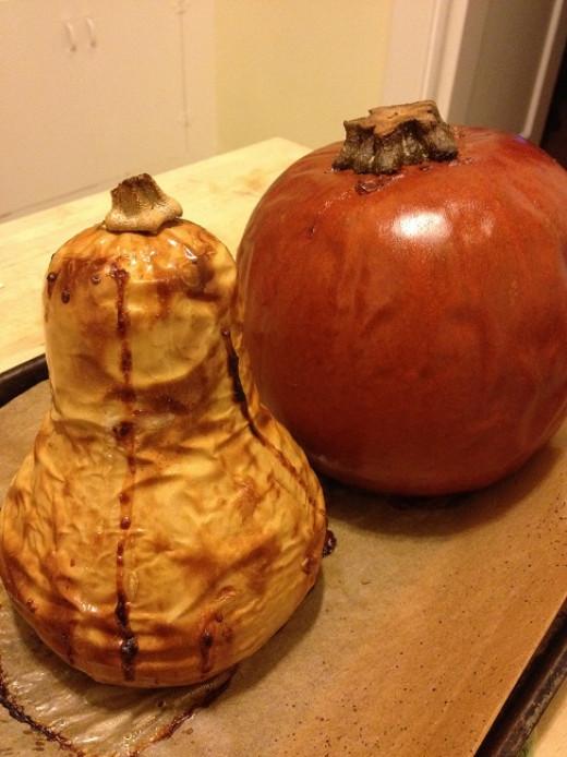 Roasted butternut squash and sugar pie pumpkin