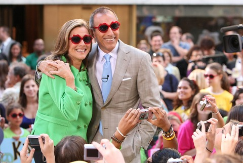 (From left), Meredith Vieira, who looks up to Lauer for advice and Lauer on-set  of the Today Show.