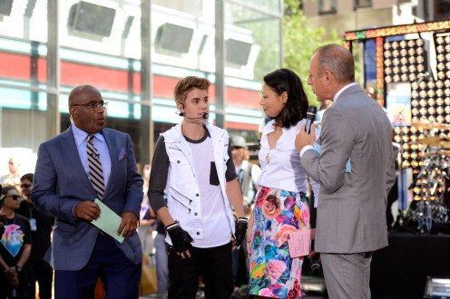(From left), Al Roker; Justin Beiber; Ann Curry and Matt Lauer.