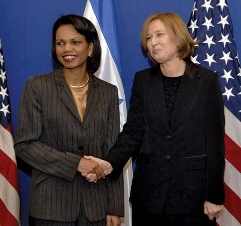 Condoleezza Rice with Tzipi Livni in Israel.