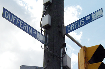 The Orfus road sign