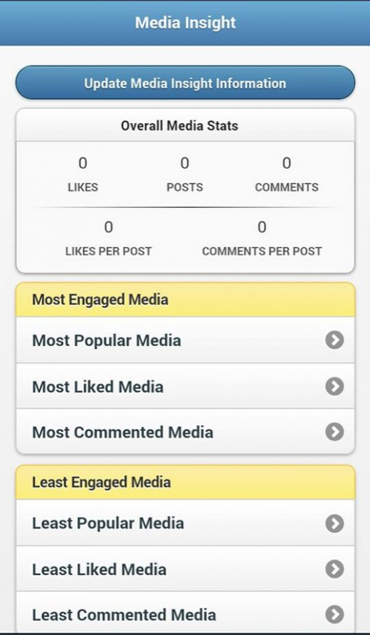 The Media Insight section is the third paid area of InstaFollow and provides stats about your most and least successful media published on Instagram.