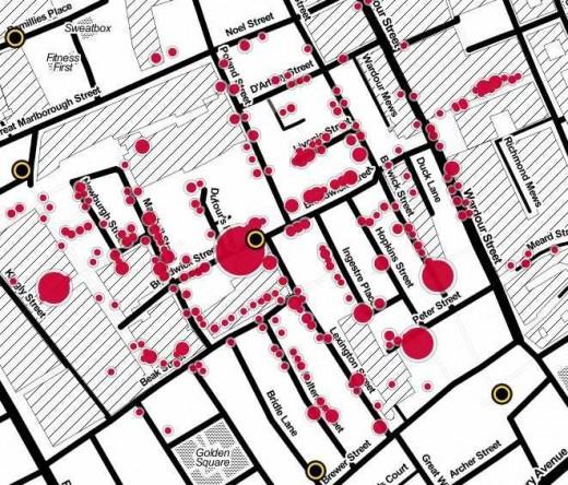 John Snow's cholera map of London recreated - The Modern Version