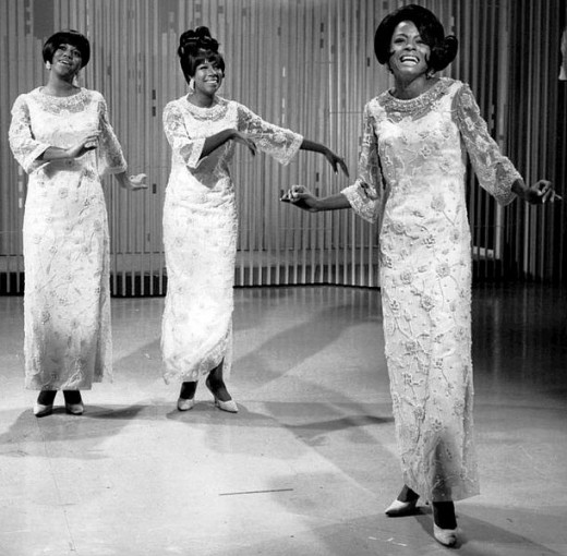 "A 60's photo showing Diana Ross (far right) performing with the Supremes on ""The Ed Sullivan Show"". Deena Jones & the Dreams is based on this group."