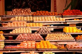 Sweets on display at an Indian Sweets shop