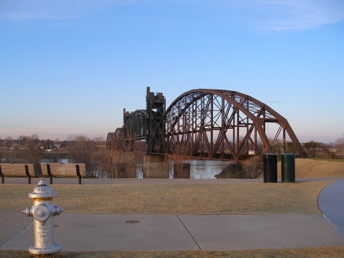 Scenic railroad bridge across the Arkansas River