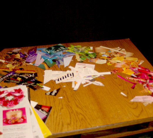 "My ""pallet"" of cut and torn paper pieces"