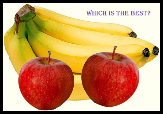 Apple, grape vs. banana, guava