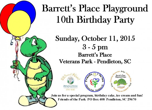 Come join us and help us celebrate the playground's 10th birthday.  It is hard to believe that it has been 10 years since the community came together to make this dream come true.