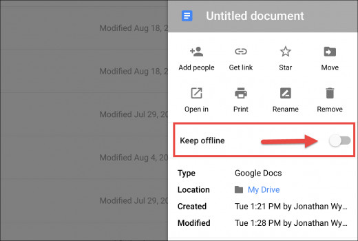 how to make google drive files available offline