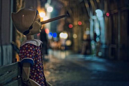 Pinocchio the child caught lying.