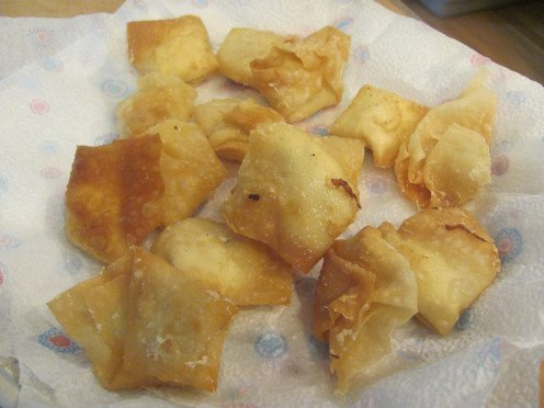 Batch of Cream Cheese Wontons-Deep Fried in the Wok.