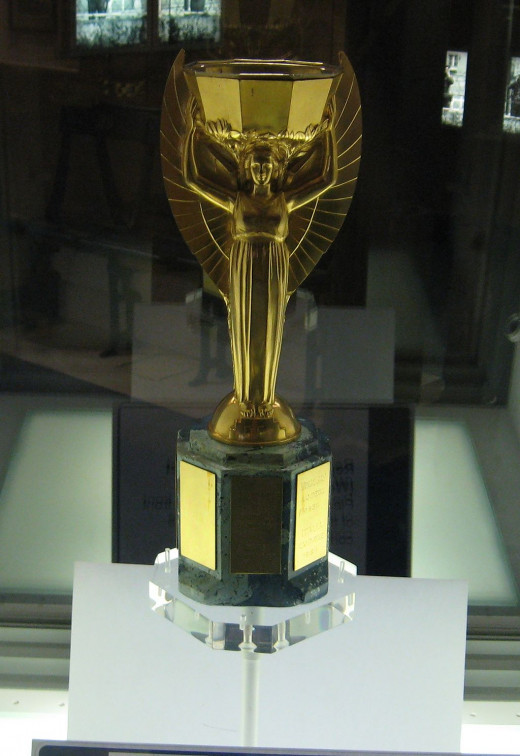 Replica of the Jules Rimet Tropy on display at the National Football Museum in Preston