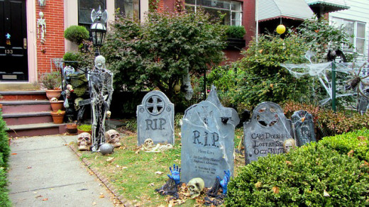 Decorate your yard as a grave site for Halloween.