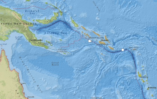 The only large earthquakes of note (6.4-6.6 magnitude) worldwide for August were in the Solomon Islands (east of Papua New Guinea).