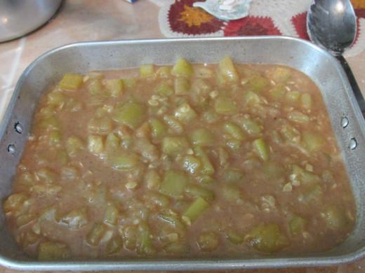 Zucchini mixture on top of bottom crust.