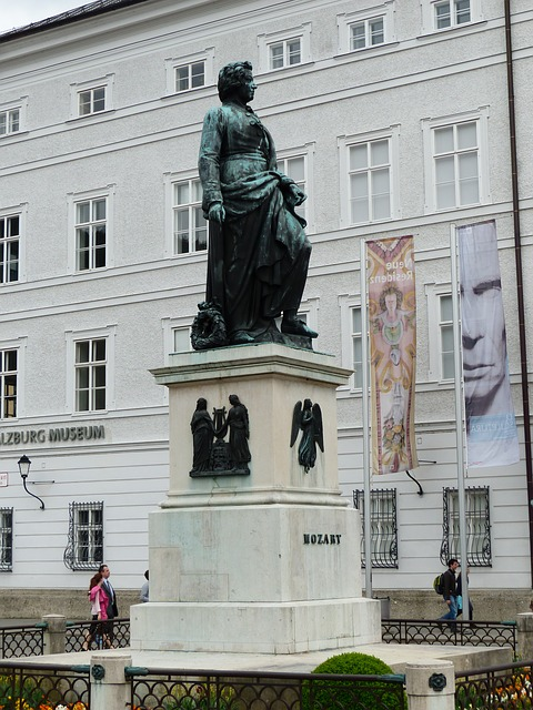 The Mozart monument at Salzburg, the composer's birthplace in Austria.