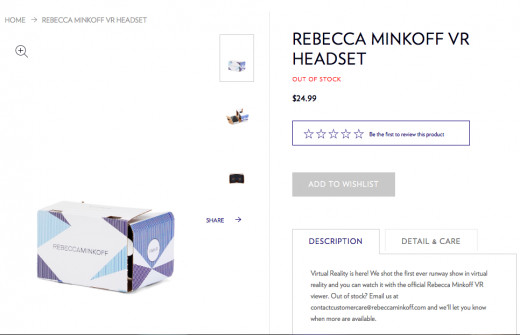 Experience the runway from home with the Rebecca Minkoff VR headset. App is available on both iOS and Android devices