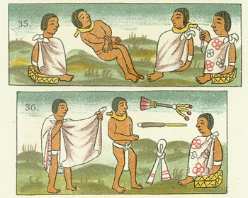 An Aztec slave market. Doesn't look very confortable.