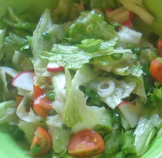 Fresh salad with radish, green onion, cherry tomatoes and lettuce