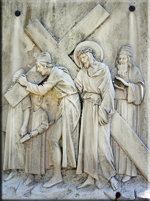 Way of the Cross: Simon of Cyrene helps Jesus Christ to carry the cross to Calvary.