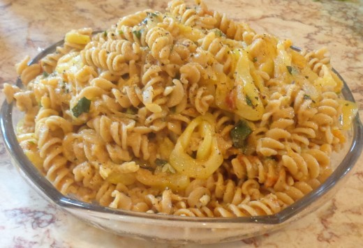 Whole grain rotini with zucchini sauce