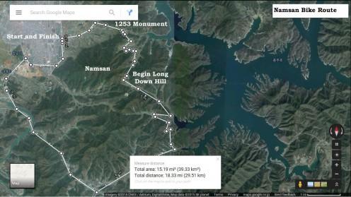 Bike Route Around Namsan (18.5 miles/30km)