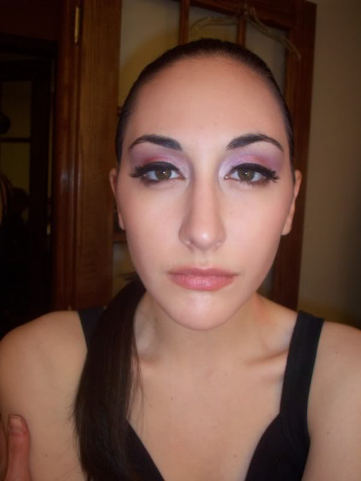 Very soft eyeshadow, just carrying on the eyeliner