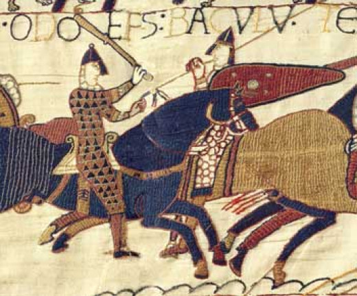 Bishop Odo depicted on horseback in battle wielding his mace - as a man of the Church he was not to draw blood with sword or spear - as seen on the tapestry commissioned by him to commemorate the battle inland near Hastings