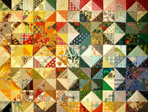 A sample of patchwork quilting.